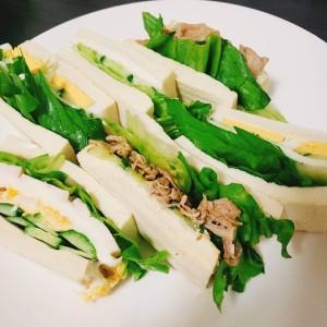 高野豆腐のサンドウィッチ。高野豆腐の糖質はほぼ0g栄養価も高い、ダイエットにはオススメの食材